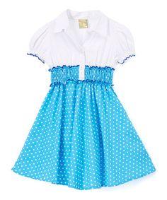 Blue Polka Dot Dress - Toddler & Girls