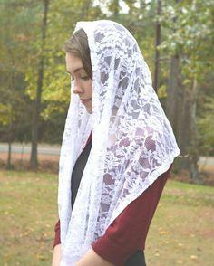 Velo capilla católica Mantilla bufanda blanca por RobinNestLane