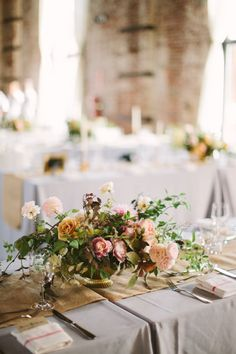 Leafy blush and gold centerpiece | Photo by Cmostr Photography | Floral design by BRRCH
