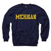 New Agenda University of Michigan Navy Basic Crewneck Sweatshirt