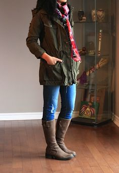 utility jacket, plaid, and boots
