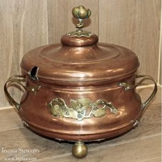 Antique Copper and Brass Soup Tureen