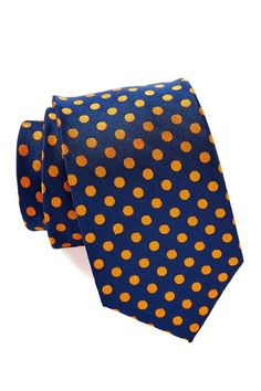Isaac Mizrahi | Navy & Orange Spotted Silk Tie | Nordstrom Rack