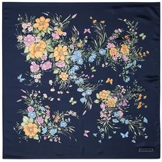 Aspinal of London Bouquet Of Flowers Silk Scarf In Blue ($170) ❤ liked on Polyvore featuring accessories, scarves, backgrounds, filler, pictures, blue pure silk, aspinal of london, feather scarves, silk shawl and blue silk scarves