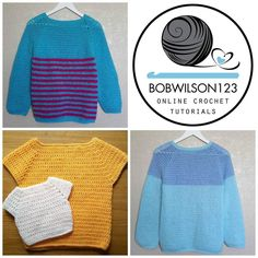 Sweaters for the whole family. Sizes from baby to adult. Video tutorials and written pattern available. See my profile for a link to my youtube channel #Crochet #crochetsweater #bobwilson123 crochetpattern #yarn #crochetersofinstagram #newtutorial by youtubebobwilson123