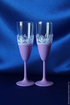 """Купить Свадебные бокалы """"Анастасия"""" - свадебные аксессуары, челябинск, классический стиль, свадебные бокалы, сиреневый"""