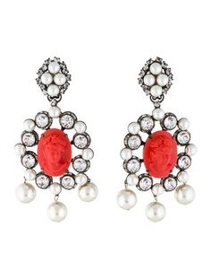 Lawrence Vrba Cameo, Pearl and Crystal Drop Earrings