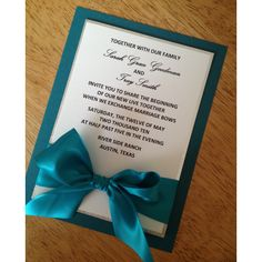Teal and silver Wedding Invitation (£3.69) ❤ liked on Polyvore featuring home, home decor, handmade home decor, teal home decor, teal home accessories and teal blue home decor