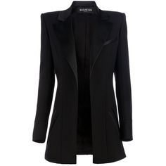 BALMAIN Structured blazer ($2,985) ❤ liked on Polyvore featuring outerwear, jackets, blazers, coats, coats & jackets, balmain blazer, balmain, open front jacket, structured blazer and wool-blend jacket