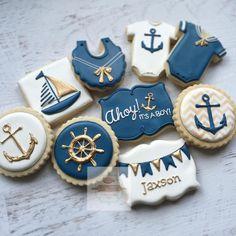 Nautical baby in navy & gold 💙 #nautical #nauticalbabyshower #natsweets #customcookies #sandiego #navyandgold