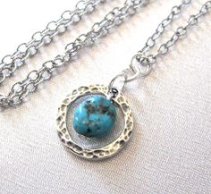 Turquoise Gemstone Necklace Hammered Circle by SendingLoveGallery