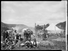 Opening of the Catholic church at Parikino, Wanganui region, New Zealand, Shows a Maori group at a hangi site and a tent on the right. Church History, Family History, Homeland, Ancestry, New Zealand, Catholic, Coast, Landscape, Photos