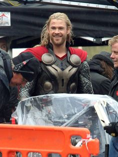 """Chris Hemsworth on set of """"Thor: The Dark World"""". Can we please have the movie now? Instead of November?"""