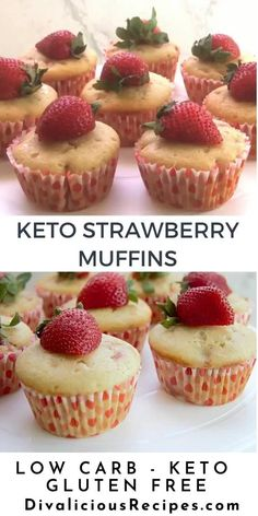 This is a lovely light, moist strawberry muffin made from almond flour.  The flavour combination of strawberry and vanilla make this a great summer muffin. Low Carb Brownie Recipe, Keto Chocolate Recipe, Low Carb Chocolate, Low Carb Desserts, Gluten Free Desserts, Low Carb Recipes, Diabetic Recipes, Low Carb Candy, Strawberry Muffins
