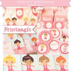 Ballet Dance Party Birthday Printable Party Kit with editable text for you to personalize - Instant Download by printmagic on Etsy https://www.etsy.com/listing/113407318/ballet-dance-party-birthday-printable