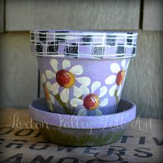 Daisy Flower Pot Hand Painted Terracotta by PaxtonValleyFolkArt, $15.00