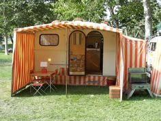 vintage camper awnings - love the sides on the awning - makes it like another whole room.
