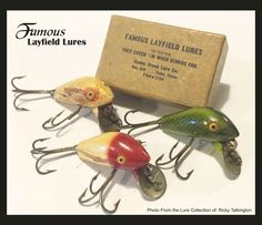 "Early Wood Layfield Lures Patented by Jester & Floyd ""Cotton"" Layfield from Kerens, Texas in 1939. Sunny Brooks Fishing Lure Company from Tyler, Texas later made the fishing lures."
