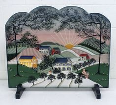 """Signed """"Cathy"""". Hand-Painted Decorative Wood Panel Fireplace Screen.   eBay!"""