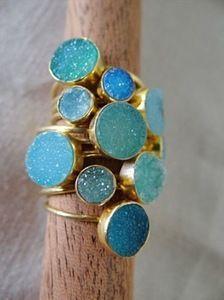 Leslie Francesca -- Image of Blue Druzy Ring