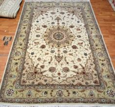 6'x9' Hand-knotted Wool n Silk Oriental Persian Tabriz Area Rug ~New46
