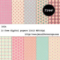 Isla - Free Digital Paper Pack - 10 high resolution digital papers, plus pattern files - personal and commercial use ok.
