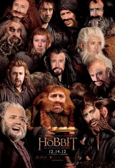 I believe I need to see The Hobbit today!  I must say I'm surprised that Nicolas Cage is playing SO MANY roles in this film, though...