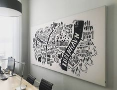 thomas had a very good (and big) idea and we arranged something nice for his office.  #acousticpanels #kobenhavn #copenhagen #danish #denmark #officedecor #decor #bigideas #cph #kbh #wallart #wallartdecor #illustration #cities #map #maps #traveljournal #ello #illo #creative