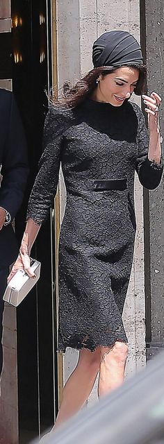 Who made Amal Clooney's black lace dress? Dress – Versace