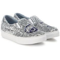Chiara Ferragni Flirting Glitter Skate Sneakers (1.685 RON) ❤ liked on Polyvore featuring shoes, sneakers, apparel & accessories, chiara ferragni shoes, round cap, pull-on sneakers, slip-on sneakers and sequin shoes