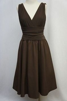 Brown Sleeveless Knee Length Lined Dress Sz ?