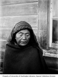 Portrait of William Dick's mother, a Makah woman, wearing scarf and blanket, Neah Bay, Washington, ca. 1895. - I just love this photograph and yet, I can't explain why. I think its beautiful and serene, at least that's a start!