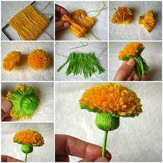 DIY Wool Yarn Dandelion | iCreativeIdeas.com Like Us on Facebook ==> https://www.facebook.com/icreativeideas
