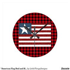 """American Flag/Red and Blue Gingham Print Wall Round Clock 