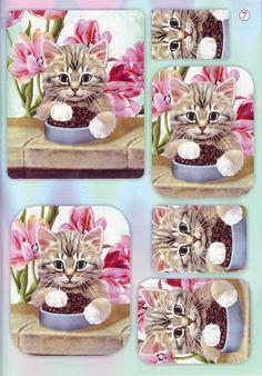 Chat et fleurs pyramid topper
