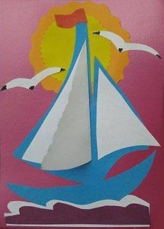 Maybe bulletin board saying sailing into a new school year? or a seascape theme? Sea Crafts, Diy And Crafts, Arts And Crafts, Paper Crafts, Diy Paper, Daycare Crafts, Preschool Crafts, Crafts For Kids, Summer Crafts