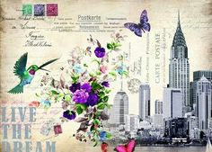 New York Decoupage Paper, Scrapbook Designs, Paper Background, Vintage Pictures, Vintage Paper, Travel Posters, Love Flowers, Print Design, Paper Crafts