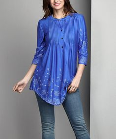 Another great find on #zulily! Blue Floral Notch Neck Pin-Tuck Tunic - Plus #zulilyfinds