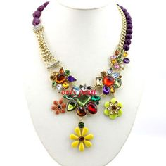 Statement Flower Necklace Vinetage Jewelry Mix Color by OnlyPearl, $28.69