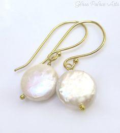 White Pearl Earrings - Freshwater Pearl Dangle Earrings