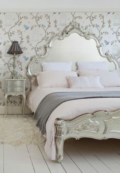Silver Luxury Bed, hand carved mahogany with silver leaf ~