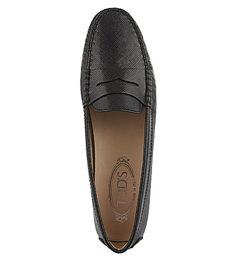 TODS Gomma saffiano leather moccasins (Black