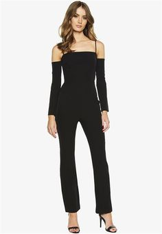 The Rib Pantsuit features a square neckline with cold shoulder styling, adjustable straps, tailored pant legs with slight flare at the bottom. Fabrication: Polyester, ElastaneLining: Polyester, ElastaneExclusive of Trims. Square Necklines, Cold Shoulder, Flare, Jumpsuit, Legs, Fabric, Clothing, Pants, Dresses