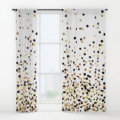 """Floating dots in black and gold foil-look on white.<br/> <br/> *Note that any """"foil-look"""" design elements are not actually gold foil - they are printed to look like foil reflecting under light with colored ink in shades of yellow and brown. Bathroom Window Curtains, Window Sheers, Gold Curtains, Bathroom Windows, Black Curtains, Black Gold Bedroom, Black Rooms, Woven Shades, Gold Rooms"""