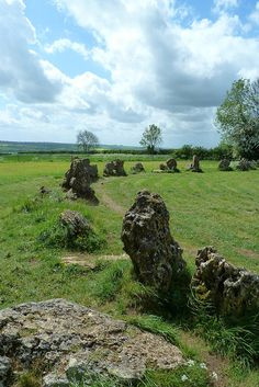 """Rollright Stones: """"On certain nights of the year these limestone rocks break from the almost perfect circle they form, and rush down a hill to drink from a nearby spring. They are 'The King's Men', tricked and turned to stone by a witch because their regal master had ambitions to conqueror all of England."""" www.bradtguides.com"""