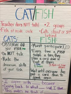 Cat/Fish Socratic Circle AVID Strategy. This is our anchor chart. Jobs/expectations listed under each role, and meaningful conversation starters listed at the bottom. I did this with my third graders over the book Because of Winn Dixie and they did great! Give students a prompt and they will love to discuss it and share their ideas!