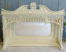 """Beautiful Antique MANTLE MIRROR SHELF Oak - Shabby Chic Farmhouse Painted Gingerbread Trim 47"""" wide 34"""" tall Furniture Redo, Shabby Chic Furniture, Furniture Ideas, Shabby Chic Farmhouse, Shabby Chic Style, Fireplace Mantles, Fireplaces, Hyannis Port, Overmantle Mirror"""