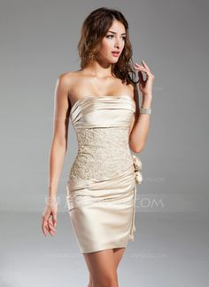 JJsHouse Sheath/Column Strapless Short/Mini Satin Cocktail Dress With Ruffle Beading Flower(s) Wedding Party Dresses, Bridesmaid Dresses, Prom Dresses, Formal Dresses, Dresses 2013, Dresses Online, Cheap Cocktail Dresses, Satin Cocktail Dress, Pretty Dresses