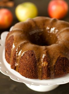 This apple butter bundt cake is grain-free and has the most amazing glaze! Totally refined sugar-free and also dairy-free.