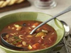 Canned chili is the base for this minestroni soup, which has beans, tomatoes, corn, and celery plus seasonings and pasta.